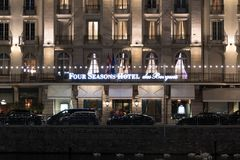 Geneva/Switzerland-28.08.18 : Four Seasons Hotel les Bergues night light royalty free stock photo