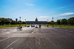 Les Invalides, Paris on a sunny day. Hotel Les Invalides, Paris, France esplanade on a sunny day royalty free stock photography