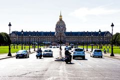 Les Invalides, Paris on a sunny day. Hotel Les Invalides, Paris, France esplanade on a sunny day royalty free stock image