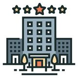 Hotel Line Color Icon. Hotel building and stars Line Color Icon Design Vector Illustration royalty free illustration