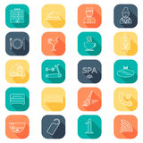 Hotel line icons set.  Hotel glyph. Buttons with shadow. Flat color. Vector Royalty Free Stock Images
