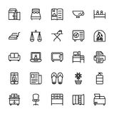 Hotel Line Vector Icons 12 Stock Images