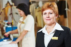 Hotel linen service. Portrait of hotel linen cleaning service manager Stock Image