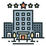 Hotel linii koloru ikona royalty ilustracja