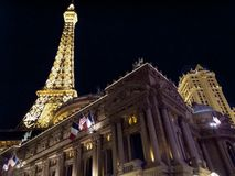 Hotel lit up at night, Paris Las Vegas, Nevada, Royalty Free Stock Image
