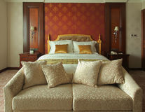 Hotel Living Room, Bed Royalty Free Stock Photography