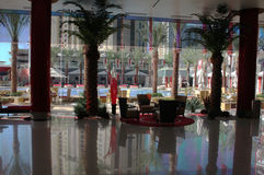 Hotel lobby. Exotic hotel lobby with swimming pool view Stock Images