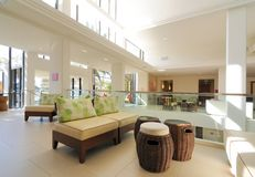 Hotel Lobby. Modern hotel lobby with modern architecture and design Stock Photos