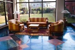 Hotel lobby. Sofa and carpet Royalty Free Stock Photo