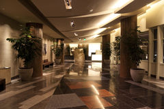Hotel Lobby. An empty modern hotel lobby with a granite floor Royalty Free Stock Photography