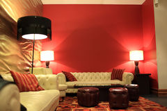 The hotel lobby. It is red hotel lobby at night Stock Images