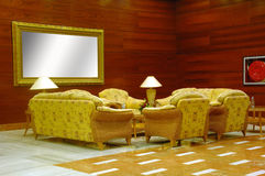 Hotel lobby. Whit table, chairs and sofas Royalty Free Stock Photo