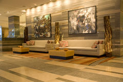 Hotel lobby. Beautiful hotel lobby of Four Seasons hotel Seattle Royalty Free Stock Photos