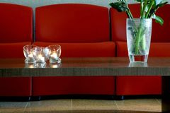 Hotel lobby with chairs. Hotel lobby with red chairs Stock Photos