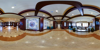 Hotel lobby 360 degree panorama. Hotel lobby 360 degree Virtual reality panorama for virtual tour panorama Royalty Free Stock Photography