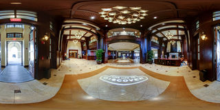 Hotel lobby 360 degree panorama royalty free stock photos