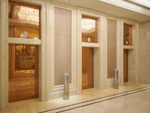 Hotel lobby and Elevator. This is a luxury hotel in China.This perspective is the hotel lobby Royalty Free Stock Image