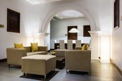 Hotel lobby interior. Cosy interior of modern hotel lobby lounge area Royalty Free Stock Photos