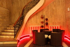 Hotel lobby. Interior design of a hotel lobby with decorative red lights Royalty Free Stock Images