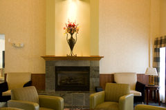 Hotel lobby. With nice lighting and fireplace Royalty Free Stock Images