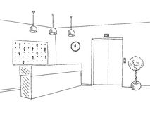 Hotel lobby reception black white graphic art interior sketch illustration Stock Image