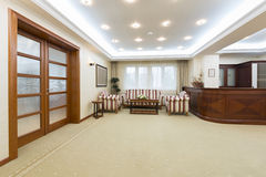 Hotel lobby with reception desk Royalty Free Stock Photos