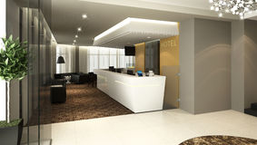 Hotel lobby reception. Rendering of a modern hotel reception and lobby bar Royalty Free Stock Photography