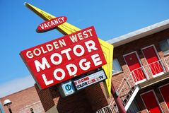 Hotel (lodge) sign in Reno, Nevada. Stock Photos