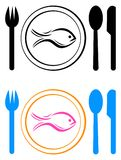 Hotel logo on eating fish food with dinner plate. Illustration of hotel logo on eating fish food with dinner plate on white background Royalty Free Stock Photo