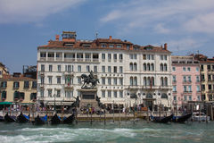 The Hotel Londra Palace and the promenade in Venice city Stock Image