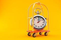 Hotel luggage with stopwatch. Isolated on orange background vector illustration
