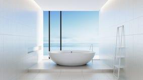 Hotel luxuoso e moderno do banheiro da praia - Fotos de Stock