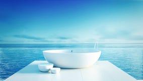Hotel luxuoso e moderno do banheiro da praia - Imagem de Stock Royalty Free