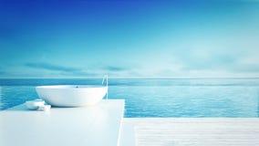 Hotel luxuoso e moderno do banheiro da praia - Foto de Stock Royalty Free