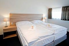 Hotel luxury bedroom double bed Stock Photo