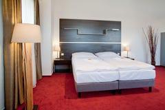 Hotel luxury bedroom double bed Stock Image