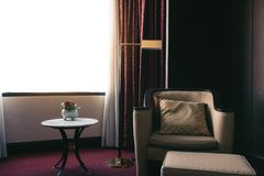 Hotel luxury room with modern interior stock images