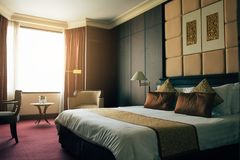 Hotel luxury room with modern interior royalty free stock photography