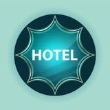 Hotel magical glassy sunburst blue button sky blue background stock illustration