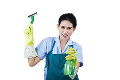 Hotel maid with cleaning tools Stock Photography