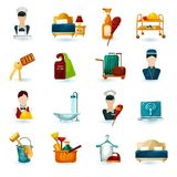 Hotel Maid Icons. Set with room service cleaning and washing symbols isolated vector illustration Stock Photography