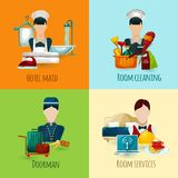 Hotel Maid Set. Hotel maid and doorman design concept set with room cleaning service icons isolated vector illustration Stock Image
