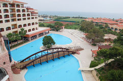 Hotel main building at Mediterranean Sea. Antalya, Turkey Stock Photography
