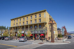 Hotel in Main street Truckee. California, USA stock photography