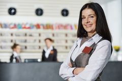 Hotel manager on reception royalty free stock photography