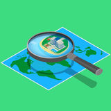 Hotel on the map near the sea. Vector illustration. Modern hotel on the map near the sea. look through a magnifying glass. A beachfront restaurant, swimming royalty free illustration