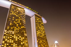 Hotel Marina Bay Sands in Singapore at night Royalty Free Stock Image