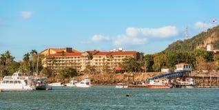 Hotel at the marina in Panama City. Panama City, Panama - February 20, 2017: Hotel at the marina located at the entrance to Amador Causeway in Panama City Royalty Free Stock Photography