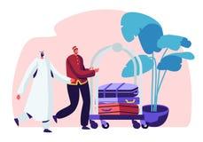 Hotel-Material, das arabischen Gast in Hall Carrying Luggage durch Wagen trifft Moslemischer Geschäftsmann Stay im Gästehaus f stock abbildung