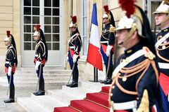 Hotel Matignon Republican Guards of honor Royalty Free Stock Photography